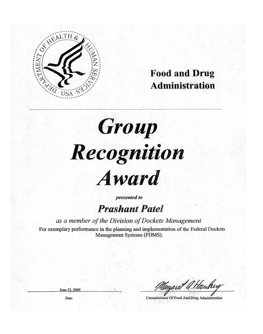 Bcpi Fda Group Recognition Award Testimonial Letter To Bcpi