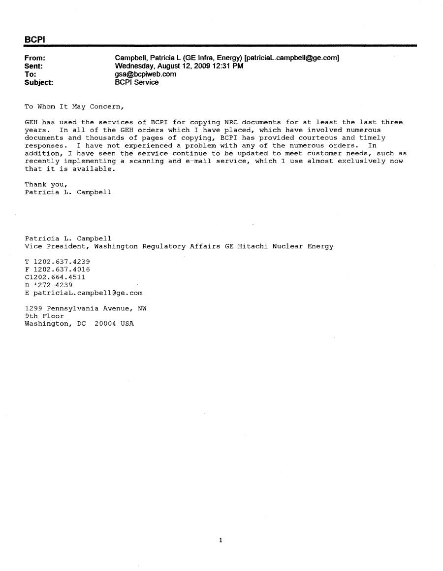 Bcpi Ge Infra Energy Nrc Testimonial Letter To Bcpi