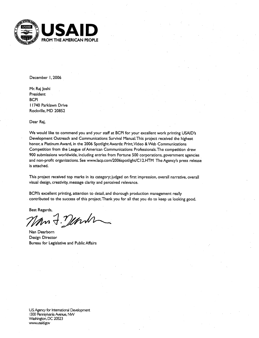 Bcpi Usaid Survival Manual Testimonial Letter To Bcpi